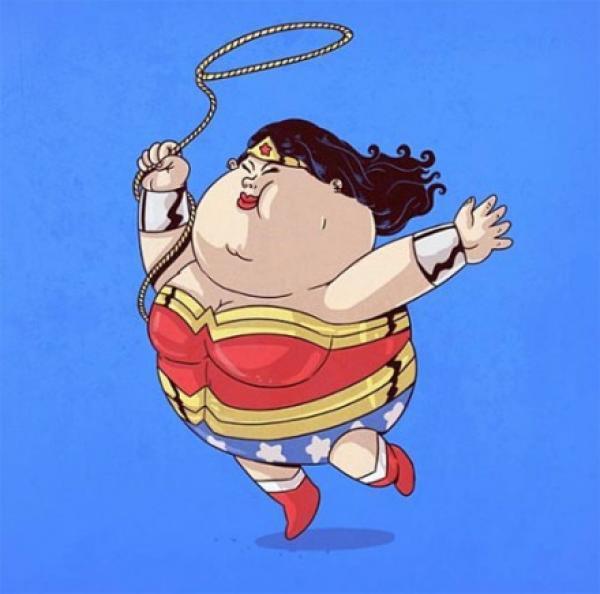 搞笑,漫画,另类图片:胖成球的美国动漫英雄角色,不过连它们都有