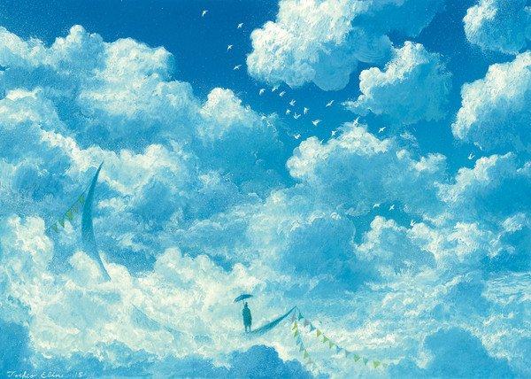 二次元,卡通,创意,另类图片:你于蓝天 我居绿地