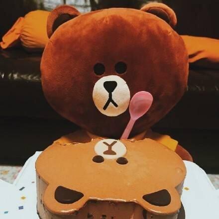 美食,创意,另类图片:大宝:line 布朗熊冰淇凌蛋糕